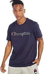 Champion Camiseta de Manga Corta Cuello Redondo Azul para Hombre