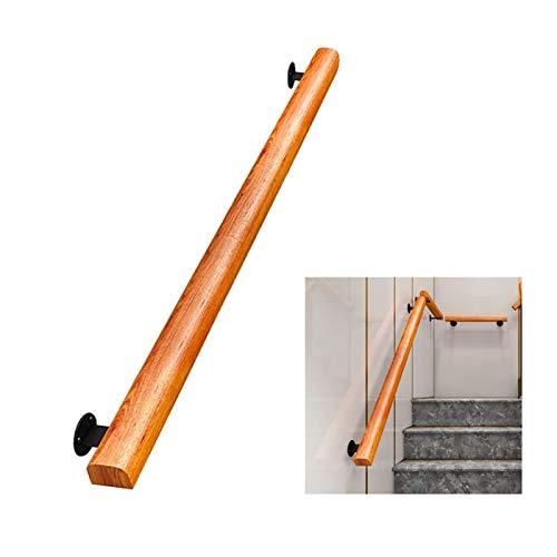 WZNING Pasamanos de la escalera - Barandilla de barandilla de la escalera antideslizante de madera de pino mejorada - kit completo de 30-600 cm, barra de soporte de corredor, con soporte fijo de hierr