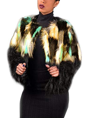 Simsly Autumn Fur Vest Sleeveless Lightweight Faux Fur Vests Winter Warmer Jacket Coat for Women and Girls(Black and Yellow) (Large)