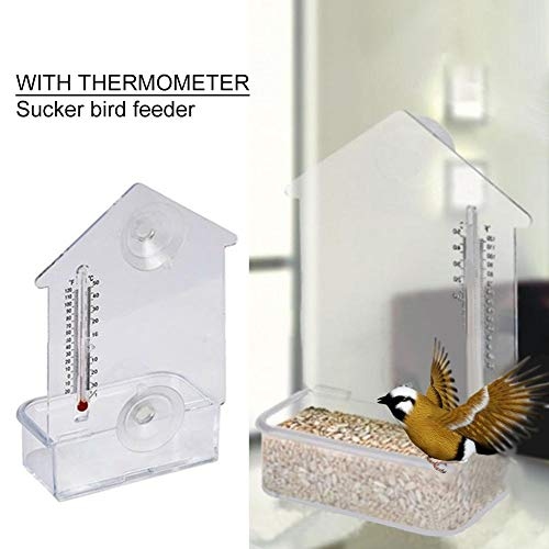 Brandnews Vogelhuisje, multifunctioneel, robuust vogelbed, perk met thermometer-zuignap