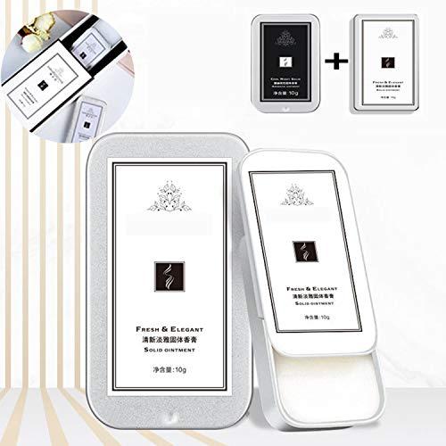 2 pièces Parfum solide Portable Parfum de poche durable Notes boisées Mâle dame Encens léger,Boîte en fer blanc fraîche et charmante