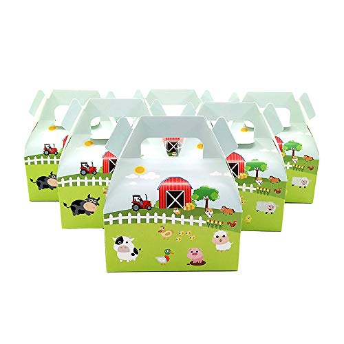 20 PCS Small Size Candy Box Cake Box for Kids Farm Animals Pig Cow Sheep Tractor Theme Party, Cake Treat Gift Box Candy Cookie Containers Goodie Bag, Baby Shower Party Decoration Party Favor Supplies