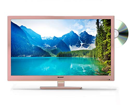 Sharp LC-24DHG6001KFR 24-Inch HD Ready LED Smart TV with Freeview Play, Built-In DVD Player, 2 x HDMI, Scart, USB Record - Rose Gold