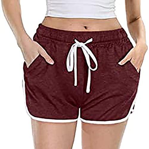 Pantalones cortos de yoga de cintura alta para mujer, pantalones cortos con cordón para mujer, cintura elástica, pantalones cortos casuales, fitness, deportes, motero, correr