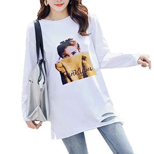 Primavera Ropa de Mujer de Talla Grande Camiseta Suelta de Manga Larga Camisa de Cuello Redondo de Longitud Media para Mujer