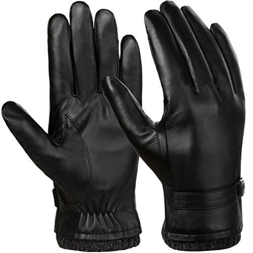 VBIGER Herren Lederhandschuhe Warm Winter Handschuhe Anti-Rutsch Touchscreen Handschuhe Winddicht Kalt Wetter Handschuhe Casual Outdoor Sports Handschuhe