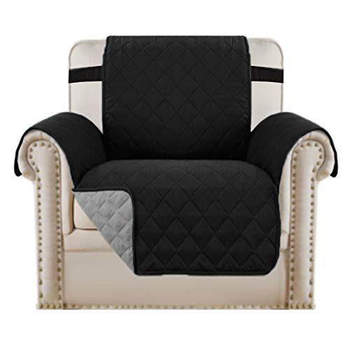 BellaHills Wendbare Stuhlabdeckung für Hunde Pet Abdeckung für Stuhl/Stuhl Schonbezug/Stuhlschutz, Maschinenwaschbar, Double Diamond Quilted (1 Sitzer: Schwarz/Grau)