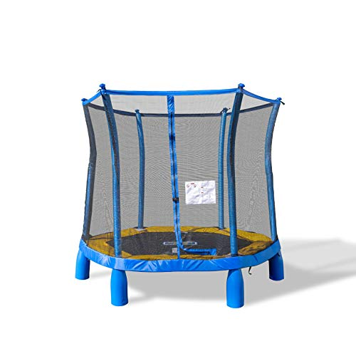 TruJump 7ft My First Trampoline Enclosed Netting, Blue
