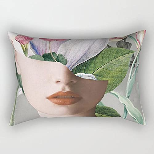 BEPM Cushion Cover Decorative Pillows Sofa Pillowcase Nordic Ins Style Flower Waist Pillow Pad Two-Purpose Simple Lean Pillow Set Of Green Graft Flowers Backrest-30 * 50Cm Double-Sided Set_Cfx020F01
