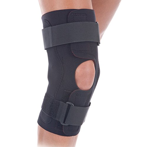 RolyanFit Wraparound Hinged Knee Brace, Comfort Wrap Knee Support & Stabilizer for Right or Left Leg, Supports Knee Joints & Muscles for Sports Wear, Low Profile Hinges & Secure Straps, Medium