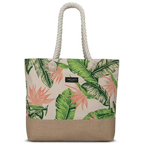 LARK STREET Strandtasche Floral Peach Beach Bag für Damen & Herren aus robustem Baumwoll Canvas & Jute - Badetasche mit Breiten Kordeln für angenehmen Große Tasche mit Reißverschluss