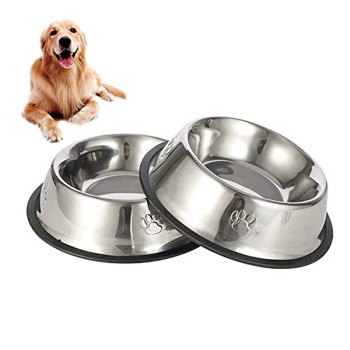 JINYJIA Comedero para Perro Acero Inoxidable 2 Unidades, Comedero para Perro Gato, Comedero y Bebedero Perro Antideslizante, para Mascotas Grande (26cm)