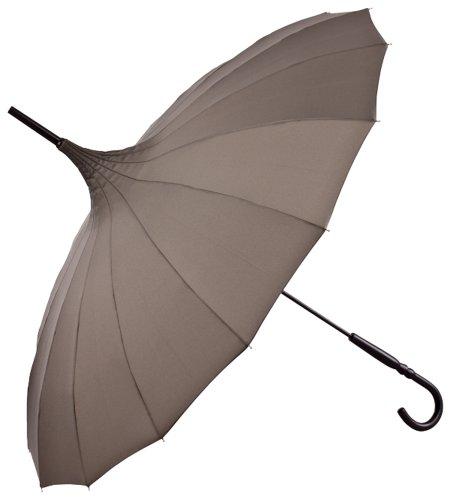 VON LILIENFELD Regenschirm Damen Herren Sonnenschirm Stockschirm Pagode Cécile braun taupe