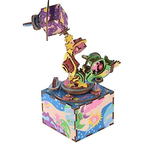 JJSPP 3D Puzzle Music Box Holz Bastelset Drehen des Universums Machinarium Weihnachten Geburtstag Musical Geschenk Festival Presents