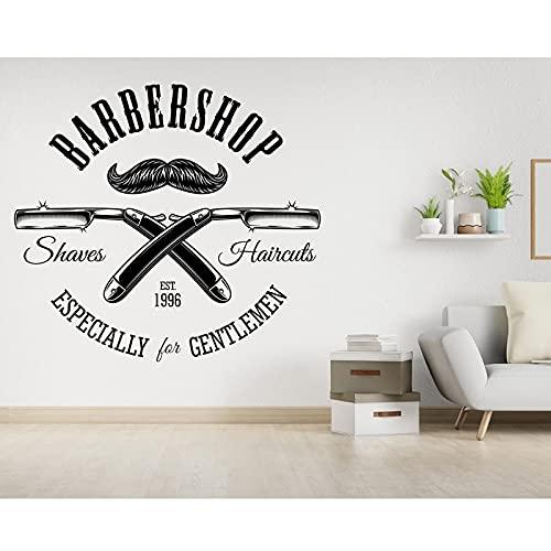 TTPixie Barbería Hombres Barba Peluquería Salón Wall Window Decal Grooming Moda Peluquería Corte Peluquería Vinilo Pegatina 105x95cm