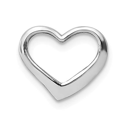 14k White Gold 2 D Floating Heart Pendant Charm Necklace Love Slide Chain Fine Jewelry For Women Gifts For Her