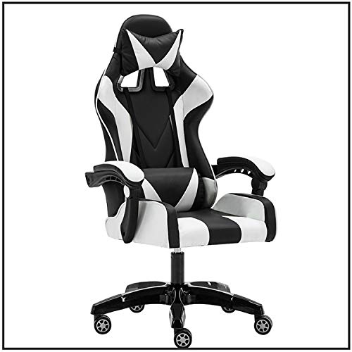 SJVR Computer chair, computer desk chair Computer Chair, gaming chair for kids Office gaming chair home game lazy chair modern minimalist racing chair can go swivel chair set black and white
