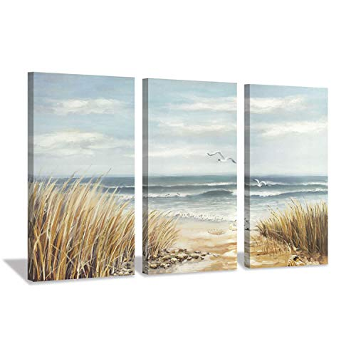 Abstract Beach Canvas Wall Art: Seashore Grasses Artwork Print Seascape Painting for Walls (26'' x 16'' x 3 Panels)