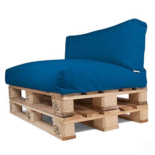 Arketicom Soft Set Doux Coussins pour Canapé Palette Dehoussable Jardin d'extérieur Hydrofuge 120x80 cm Bleu Pacific