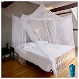 EVEN NATURALS Luxury Mosquito Net for Bed Canopy, Large Tent, Double to Queen, Camping Screen House, Finest Holes Mesh 300, Square Netting Curtain, 2 Entries, Easy to Install, Hanging Kit, Storage Bag
