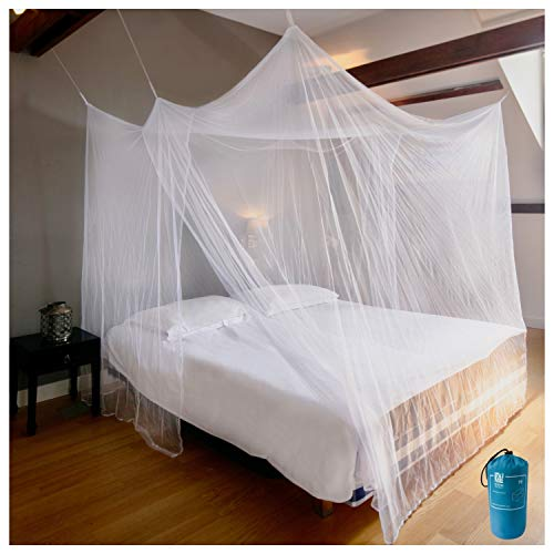 EVEN NATURALS Luxury Mosquito Net for Bed Canopy, XL Tent, Double to King, Camping Screen House, Finest Holes Mesh 300, Square Netting Curtain, 2 Entries, Easy to Install, Hanging Kit, Storage Bag…