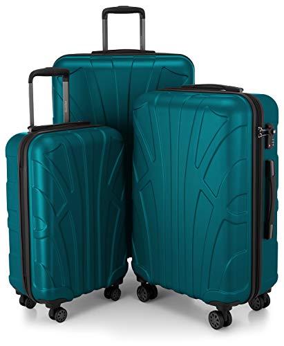 Suitline 3er Koffer-Set Trolley-Set Rollkoffer Hartschalen-Koffer Reisekoffer, TSA, (55 cm, 66 cm, 76 cm), 100% ABS, Matt, Aquagrün