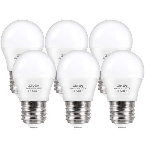 ZIKEY Bombilla LED E27, 6W (equivalente a 50W), G45 Mini Globo bombilla Blanco Frío 6000K 600lm No regulable - 6 unidades
