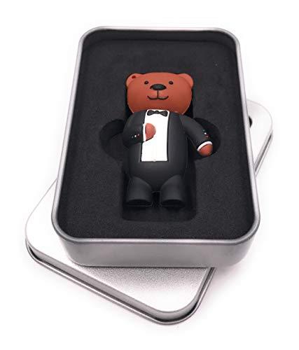 Onwomania Teddy met pak beer USB-stick in aluminium geschenkdoos 8 GB USB 2.0 32 GB USB 2.0