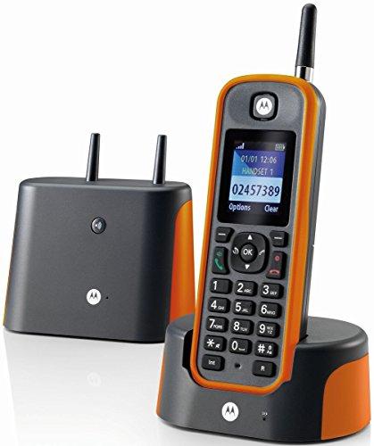 """Motorola O201 Schnurloses Festnetztelefon """"O201"""" dunkel grau / orange"""