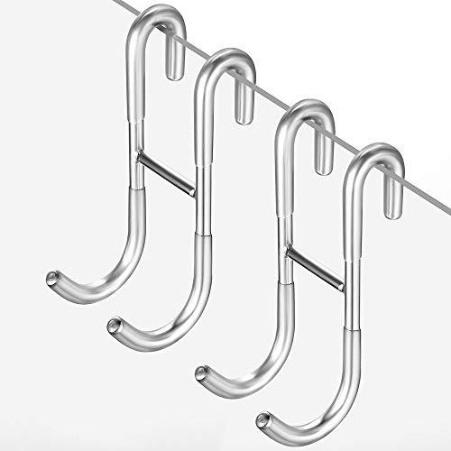 ecooe Duschhaken Ohne Bohren Haken Duschwand 2er Set mit Gummischichten für Glasduschwand Handtuchhalter sowie Halterung für Duschabzieher