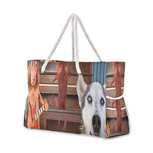 Strandtaschen für Frauen Ein Trio von Hunden, die vor einem Klavier singen Good Fo Strandtasche für Männer Mann Reisetasche 20,5 x 7,3 x 15 Zoll Reißverschluss mit Baumwollgriff für Picknicks Reiseur