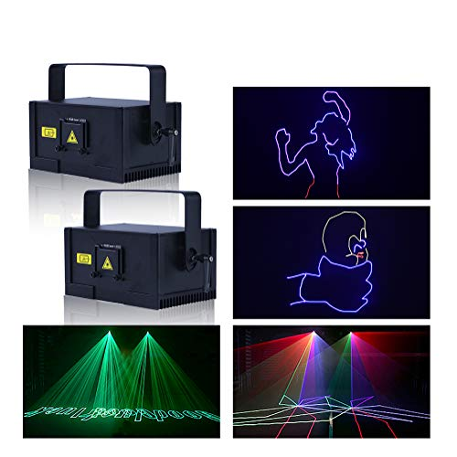 V-Show 1W RGB LED Animation Laser Lights, DMX 512 Laser Scanner Party, 2 Pack Programmable Projector Dj Light, 12 CH, For Disco Party House Stage Laser Xmas Show