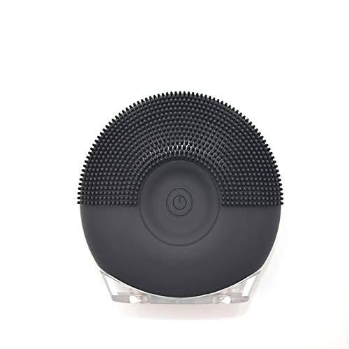 Gezichtsreinigingsborstel, elektrische waterdichte siliconen gezichtsmassage reinigingsinstrument met nachtlampje Zwart