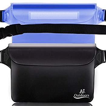 ANJ Outdoors 3-Zipper Design The Most Durable 2PK Waterproof Pouch/Waterproof Bag | Adjustable Waist Strap | Ideal Waterproof Phone Case/Waterproof Wallet for Boating and Fishing