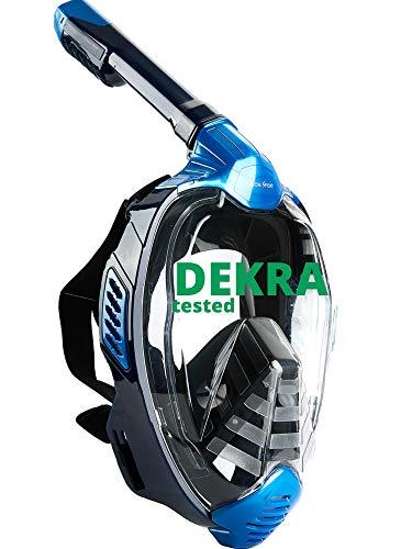 Khroom® Von DEKRA® geprüfte CO2 sichere Schnorchelmaske Vollmaske | bekannt aus YouTube | Seaview X - Schwimmmaske Tauchmaske für Erwachsene & Kinder (Blau, L/XL)
