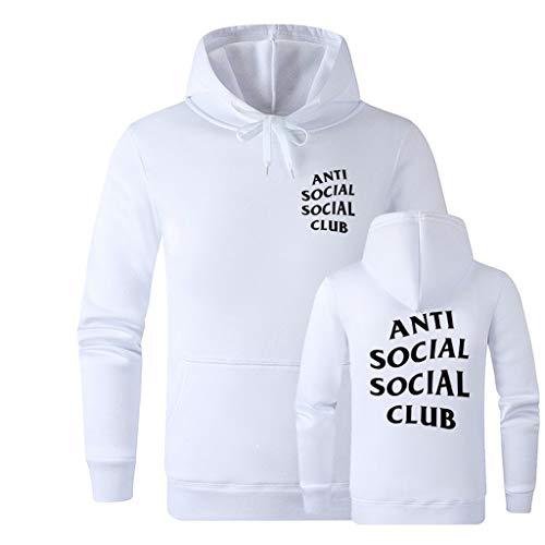 ACEGI Social Club diseño de Tendencia Antisocial Logo Manta Deportiva y de Ocio Sudadera con Capucha de algodón Estilo de Color sólido Impreso
