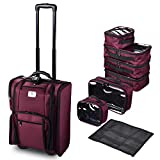 Byootique Beet Red Rolling Makeup Train Case Soft Sided Makeup Storage Cosmetic Organizer Carry on Travel with Side Pocket Removable Bag