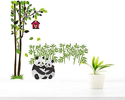 MADHUBAN DECOR Panda Wall Sticker Madhuban Décor Tree with Panda, Baby Panda Cute Wall Sticker(PVC Vinyl, Multicolor,size92x94cm)