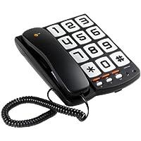 Topcom TS-6650 Teléfono con botones grandes adecuado para personas con problemas de visión, compatible con audífonos, 3 números de memoria directa