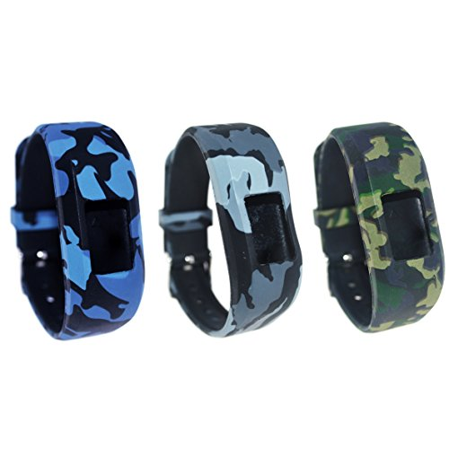 TenCloud for Garmin vivofit 3/vivofit JR. Tracker Replacement Soft Silicone Colorful Floral Pattern Bands [Fit Wrist 6.1in~8.7in] (Three Soldiers)