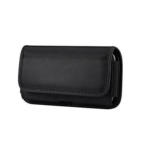 Estuche para cinturón para teléfono móvil para Smartphone, Cierre de Velcro Universal con Bolsillo Cruzado de Nailon, Compatible con Todos los teléfonos móviles de 5,2 Pulgadas - Negro