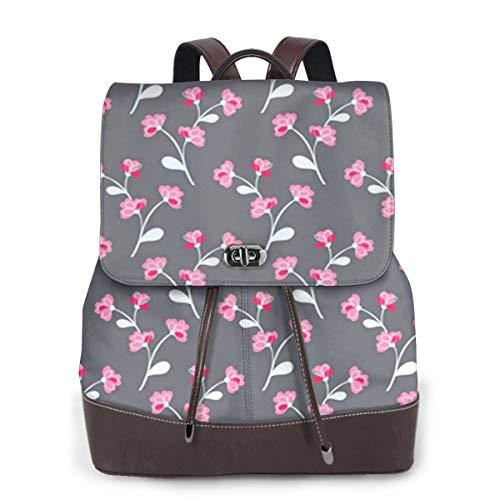Women Leather Backpack Flower Climbing Rose Vine Ornate, Schoolbag Casual Daypack School Travel Bag Satchel Laptop Backpacks for Women
