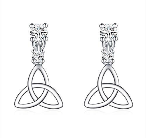 Celtic Circus | Celtic Knot Irish Earrings | Irish Jewelry | Trinity Knot | .925 Sterling Silver | 4 Prong Stud | Dangle Earrings | Cubic Zirconia Gemstones