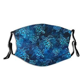 Watercolor Blue Sea Turtle Face Mask Fashion Dustproof Breathable Reusable Scarf Adjustable Washable Protective Bandana