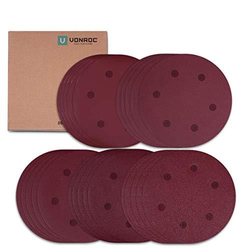 VONROC Juego de papel de lija 25 pcs - 225mm - Contiene granos K60, K120, K180, K240, K400