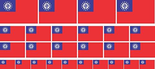 Mini Aufkleber Set - Pack glatt - 4 x 51x31mm+ 12 x 33x20mm + 10 x 20x12mm- Sticker - Myanmar - Flagge-Banner-Standarte fürs Auto, Büro, zu Hause & die Schule - Set of 26