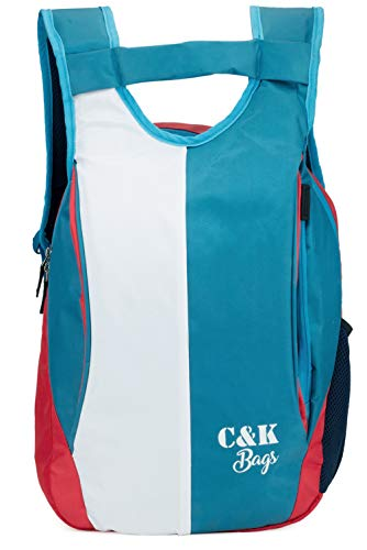 Chris & Kate Polyester 21 Ltr White-Blue School Backpack