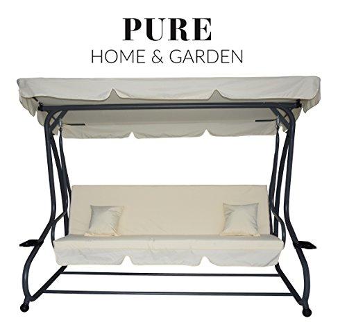 Pure Home & Garden 4-Sitzer XXL Hollywoodschaukel mit Liegefunktion Askim Natur, einfach klappbar, 232 cm