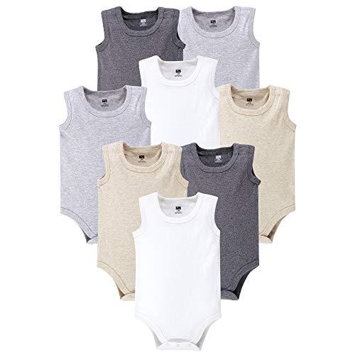 Hudson Baby Unisex Baby Cotton Sleeveless Bodysuits, Heather Gray, 6-9 Months