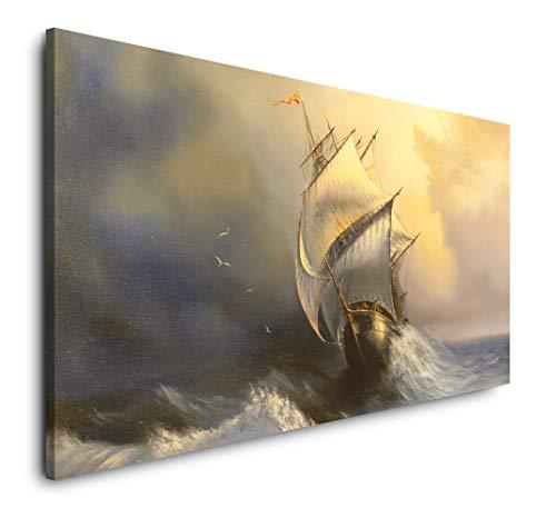 Paul Sinus Art altes Segelschiff im Sturm 120x 60cm Panorama Leinwand Bild XXL Format Wandbilder Wohnzimmer Wohnung Deko Kunstdrucke